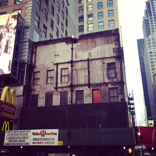 hragv:  This is what a Times Square building stripped of its billboards looks like. Looks like it could be in a war zone or something. (Taken with Instagram at McDonald's)  You see war zone, I see Rachel Whiteread.