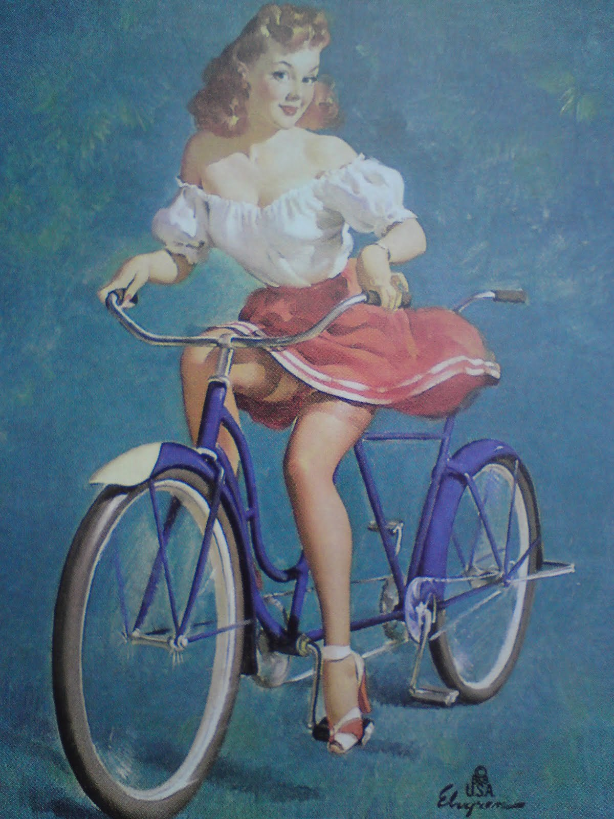 This Bicycle is Built for Woo. It certainly is. by Gil Elvgren (1947)