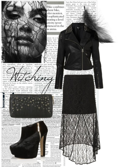 Witching Hour by racheldoughty featuring a gem bagLeather jacket / Black maxi skirt / High heels / Gem bag