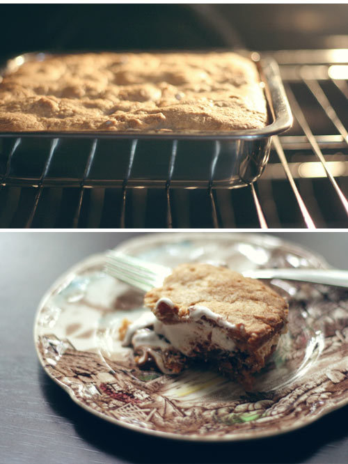S'mores Bars Ingredients: 1/2 cup butter, room temperature 1/4 cup brown sugar 1/2 cup sugar 1 large egg 1 tsp vanilla extract 1 1/3 cups all purpose flour 3/4 cup graham cracker crumbs 1 tsp baking powder 1/4 tsp salt 2 king-sized milk chocolate bars (e.g. Hershey's) 1 1/2 cups marshmallow creme/fluff (not melted marshmallows) Instructions: Preheat oven to 350°F. Grease an 8-inch square baking pan. In a large bowl, cream together butter and sugar until light. Beat in egg and vanilla. In a small bowl, whisk together flour, graham cracker crumbs, baking powder and salt. Add to butter mixture and mix at a low speed until combined. Divide dough in half and press half of dough into an even layer on the bottom of the prepared pan. Place chocolate bars over dough. 2 king-sized Hershey's bars should fit perfectly side by side, but break the chocolate (if necessary) to get it to fit in a single layer no more than 1/4 inch thick. Spread chocolate with marshmallow creme or fluff. Place remaining dough in a single layer on top of the fluff (most easily achieved by flattening the dough into small shingles and laying them together). Bake for 30 to 35 minutes, until lightly browned. Cool completely before cutting into bars. Enjoy.