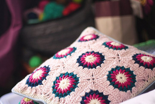 crocheted pillowcase by *glow on Flickr.