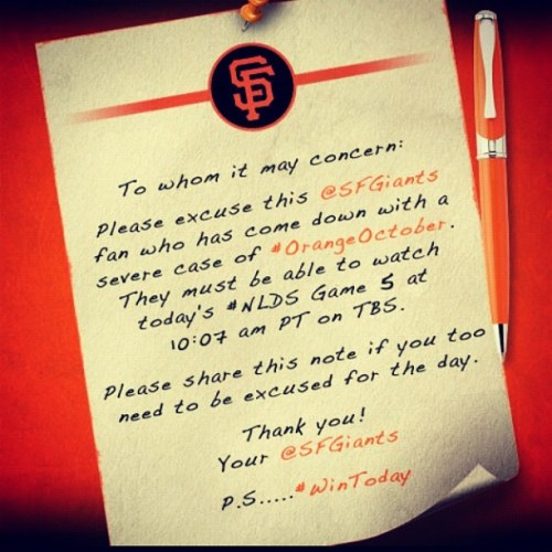 #sorry about it but this #giants fan NEEDS to watch this game #nlds #orangeoctober #letsgo #10:07am #tbs be there for get off the giants fan bus when we #WIN (Taken with Instagram)