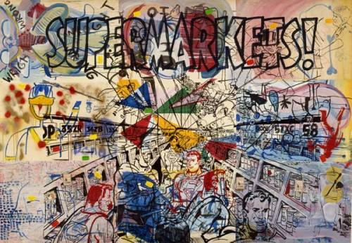 "Sigmar Polke, Supermarkets (Wir Kleinbürger), 1976. ""Among West German artists of the second postwar generation—those who came of age in the 1960s—Polke most definitively expressed in his paintings that the first true lapse in the tenets of modernism had occurred. Emerging during the heyday of pop art, Polke toyed with the forms of high and low, simultaneously drawing comic attention to the gap between them and attempting to break down the perceived opposition. With this shift came a marked embrace of the trivial and an accompanying perception that seriousness need no longer be the primary goal for postwar German artists. Polke's parodic sense of humor and comedic dismantling of numerous modernist visual tropes made him a key figure in the West German variant of pop. Polke's work stands for the early phase of postmodernism, when an acceptance of the inevitability of stylistic repetition led to a critically effective version of humor."" —from Permission to Laugh: Humor and Politics in Contemporary German Art by Gregory H. Williams"