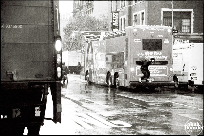 Anthony Pappalardo, 5050 on a moving bus in the rain. Photo by John Bradford.