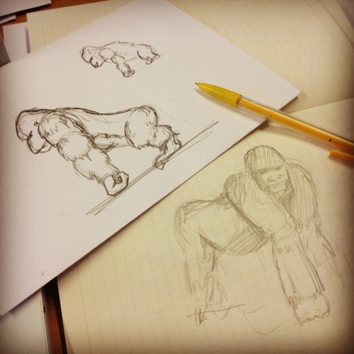 Drawing silverback gorillas is harder than it looks - their posture is sooooo unusual!