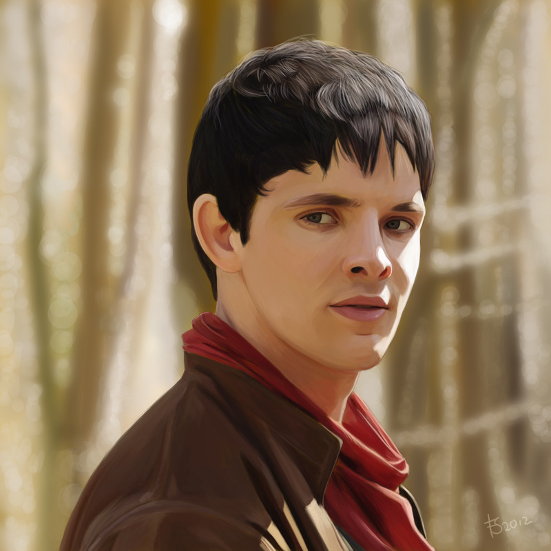 Painting of Colin Morgan as Merlin. I worked my butt off for this painting and I had an especially fun time making a sparkly background. I think I did about four layers of it, with constant blurring and then painting over it again. What do you think though, is there enough contrast between Merlin and the background or is the background completely overpowering? Either way, please, if you were ever inclined to share any of my work, let it be this one, because I'm super proud of it. You can also buy a print.