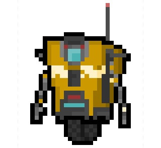 "pixelblock:  Claptrap aka CL4P-TP, the general purpose and highly enthusiastic worker robots from Gearbox's critically acclaimed ""Borderlands"" series, now turned into an incredibly small 24 x 34 pixel sprite."