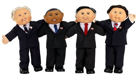 Have you seen the Cabbage Patch Kids dolls of Barrack Obama, Joe Biden, Mitt Romney & Paul Ryan? There's something unsettling about how much teeth they all have. That said, I love how they are all posed like they are in the middle of a rousing drinking song. (via Cabbage Patch Kids Go Presidential with Obamas, Romney, Biden, Ryan Dolls - ABC News)