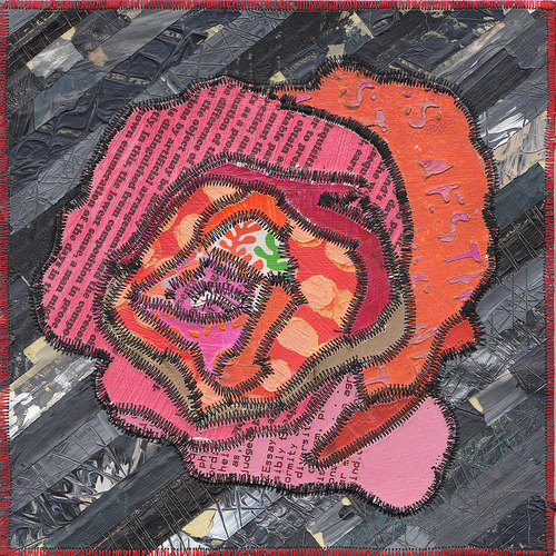 """Rose"" 9"" x 9"", quilted paint on masking tape and paper"