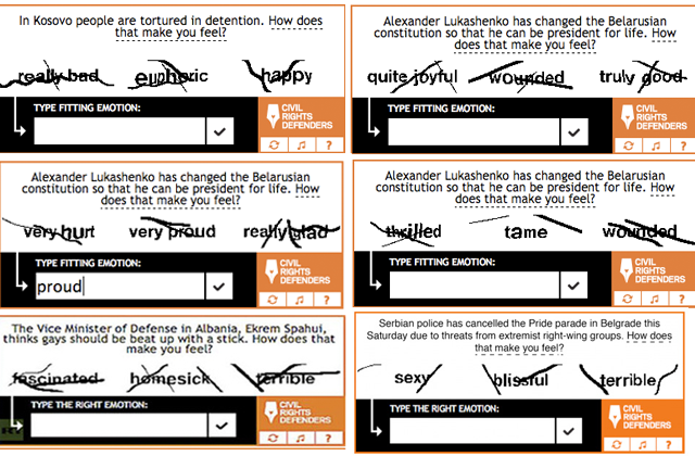 "These Idiots Think They Are Being Brainwashed by CAPTCHAs The inspiredly-named Swedish civil rights organization, Civil Rights Defenders, recently launched their own spin on CAPTCHAs (those irritating, unintelligible words that you have to type into that little box on secure websites) in an attempt to verify the empathy levels—and thus the humanity—of anyone typing words into said box. Those boxes are pretty essential nowadays, considering the amount of bots, trolls and horses that stalk the internet, but, until now, nobody's bothered putting much thought into what actually goes in them. Probably because no one cares what goes into them. The Civil Rights Defenders' CAPTCHAs ask users a civil rights-related question and provide three opinion-based answers. For example: ""The Albanian Vice Minister of Defense, Ekrem Spahui, thinks that gays should be beaten up with a stick. How does that make you feel? Fascinated, homesick, or terrible?"" Then lets you through if you input the right answer.         Although it mostly provokes laughter over deep, ponderous thoughts—the prospect of feeling ""sexy"" about Serbian police cancelling a Pride parade sounds like a Steven Wright joke—it's a fundamentally nice idea and is obviously intended purely for good. However, some people aren't OK with having their opinion about Albanian ministers beating gays with sticks dictated to them. Some people want more options when it comes to expressing their opinions about homophobic physical abuse. People like the guy who sent this email. Let's call him Tom.   Continue"
