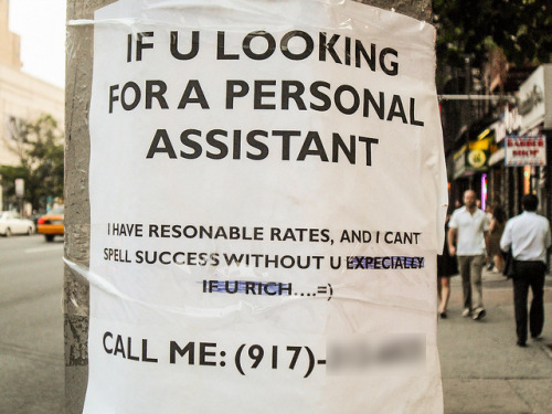 Resonable Self Promotion on Flickr. A go-getter takes his or her job search to the street, looking for a rich person to assist—probably not in spelling or syntax though. I shot this back in 2009 and recently came across it in my archives.