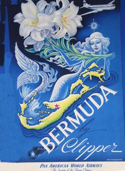 """ Bermuda by Clipper ""  …  Pan Am travel poster [1949] by Artist:  Boris Artzybashaff"