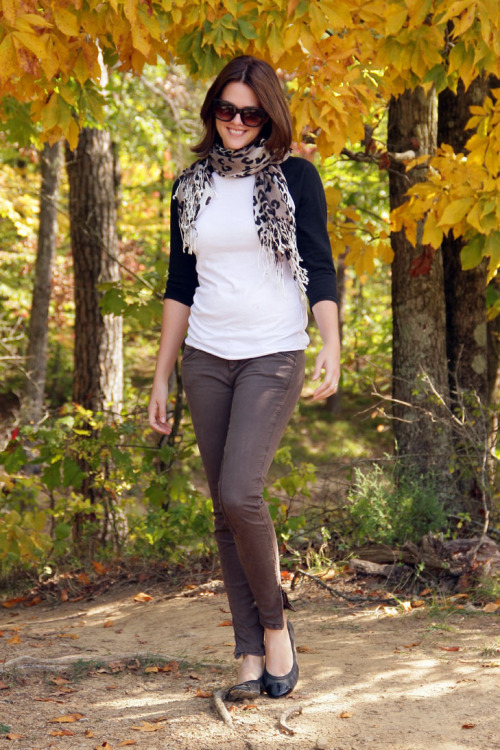 Jessica of What I Wore pairs a leopard print scarf with a baseball tee.