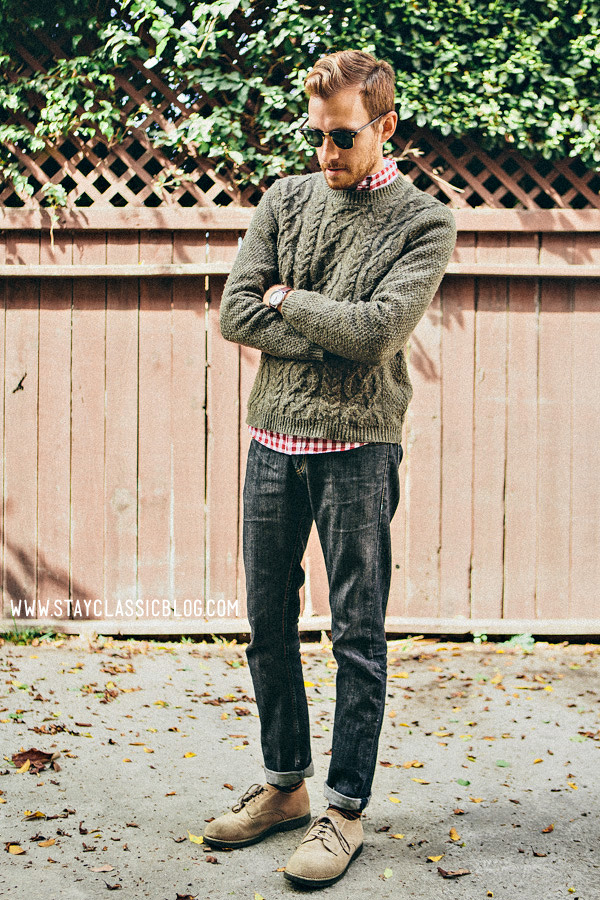perpetualstyle:  stayclassic:  October 11, 2012. Sweater: Topman - $80Shirt: Hawkings McGill - $20 - Urban Outfitters 50% off Sale SaleJeans: Levi's 511 - $15 (Buffalo Exchange) … these are currently on sale on Zappos (click the link)Shoes: Bass - $10 (thrift store) (similar) Sunglasses - Ray Ban Clubmaster - $89Watch - Timex Easy Reader - $29 (Target)Socks: H&M - $7 (two-pack) (similar) View on: Lookbook.nu | Chictopia  Gotta keep that sweater game strong.