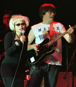 Amy Tan and Stephen King on stage as the Rock Bottom Remainders.