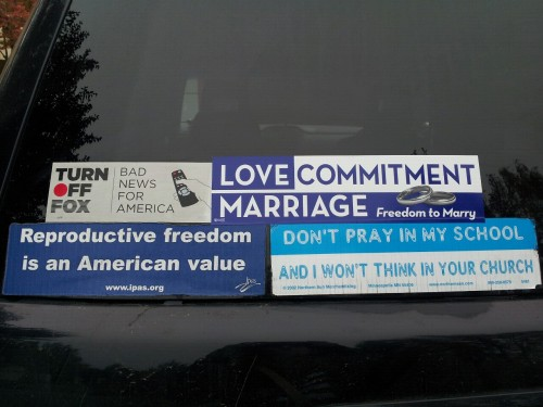 My awesome bumper stickers.