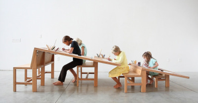 laughingsquid:  Growth Table, Tiered Art Table Seats Everyone in the Family