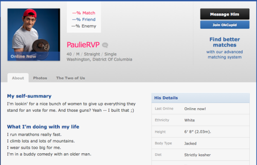 Paul Ryan's OK Cupid profile is awesome