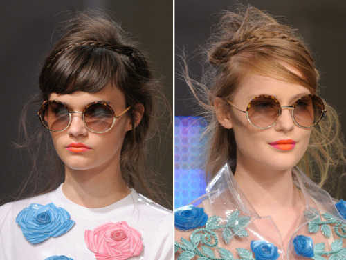 We love this messy, braided look from Holly Fulton's Spring 2013 runway show. The look is easy and stylish, but won't take you all morning to perfect. The messier the better!