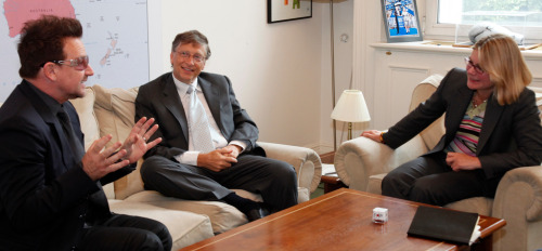 leahu2:  Bono and Bill Gates with International Development Secretary, Justine Greening, at the Department for International Development in London.  October 11, 2012