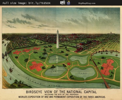 Map: the National Capital, Washington D.C. (1892) originally posted to the BIG Map Blog.
