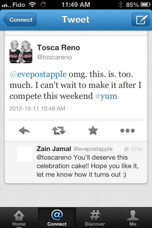 Tosca replied to my tweet!  Looks like Zain's Clean & Classic Carrot Cake may be a recipe that she makes after her big competition on Saturday!  How exciting. Have a twitter account?  I would love to connect with you @eveposapple