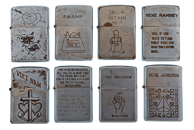 Zippos from the Vietnam war.