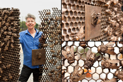 Christopher Russell and his bronze bee gates featured at the D-line Station at 9th Avenue and 39th Street…Sunset Park, Brooklyn (via NY Times)