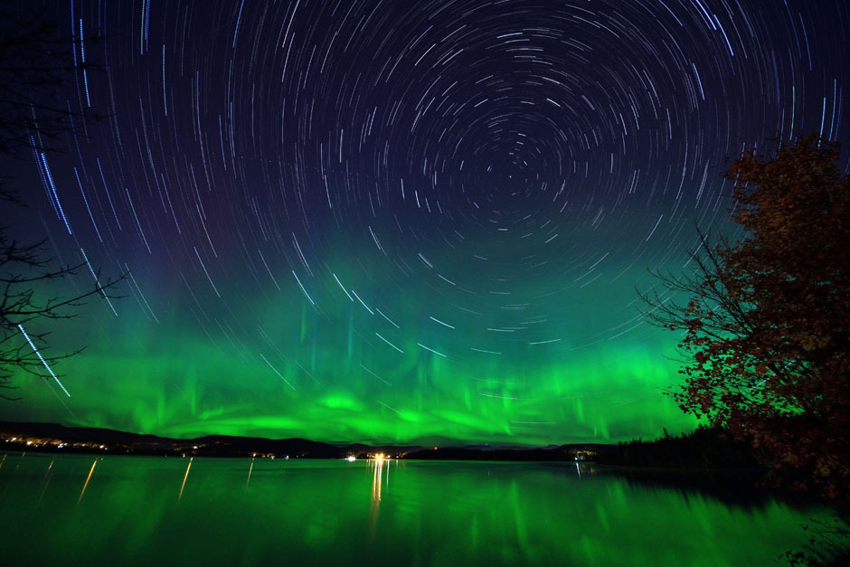Magnificent Aurora Borealis adorns starry sky in QuebecOn October 8 great geo-magnetic storm swept the earth. In this 52-minute long exposure taken from Lake-St-Charles, near Quebec City, photographer Francis Audet captured the long star trail, showing the Earth rotation as well as the Aurora Borealis.