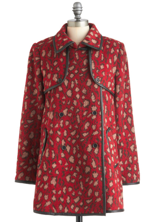 modcloth:  Shop the Red Leopard Day Coat.  #mystyle #needthatcoat #presh