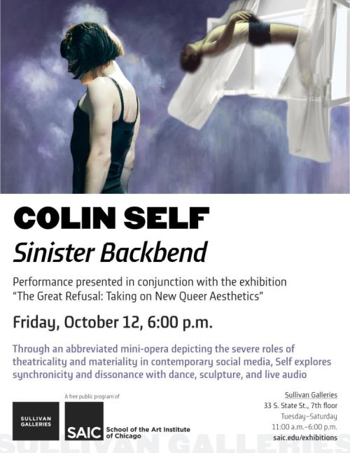 Colin Self: Sinister Backbend FRIDAY, OCTOBER 12, @ 6:00pm