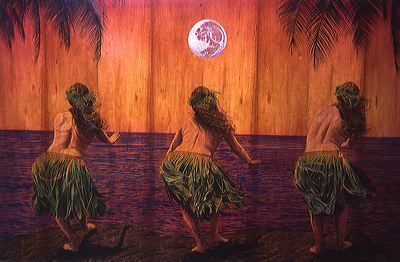 coracoracora:  wood burning, oil paint, moon girls