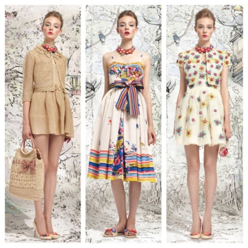 REDValentino's new fairytail! SS '13 The sweet cruise from Saint Tropez to Carribean! #romantic #pretty #young #fashion #classy #valentino #redvalentino #styledotcom #carribean #sweet #cruise #fairytail #print #raffia #straw #bow #embroidery #flowers  (Taken with Instagram)