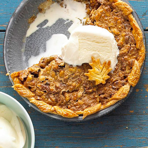 Maple-Nut Pie: Filled with gooey maple syrup and crunchy walnuts.