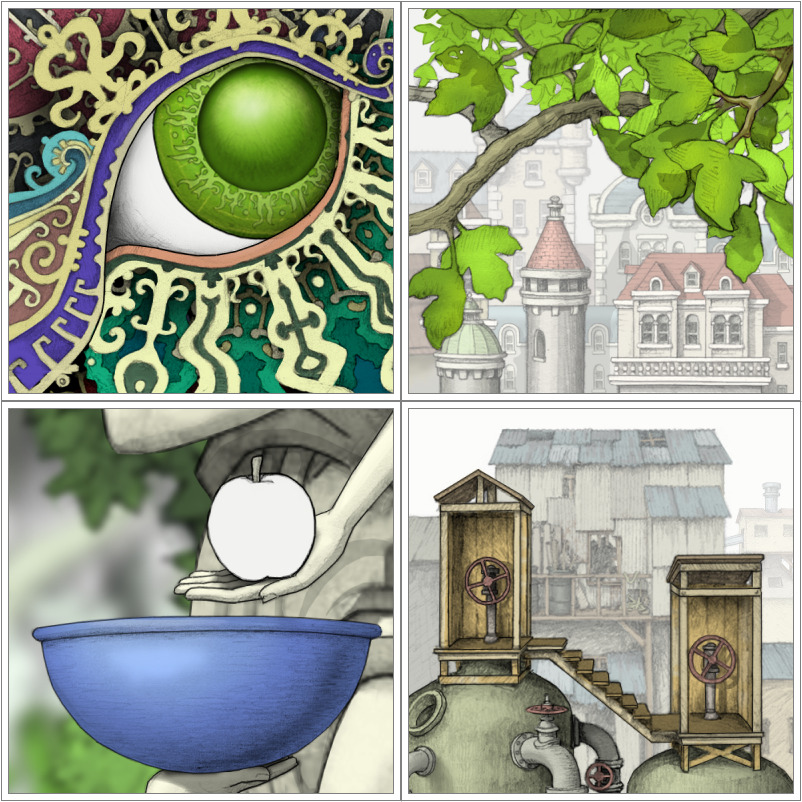 Still a work in progress, Gorogoa is a lovingly hand-illustrated world suspended inside of a unique puzzle. To solve the puzzle, the player rearranges a few tiles on a simple grid, placing them next to or on top of one another. But each tile is also a window into a different part of the game world—or perhaps into a different world—and each window plays like its own little game. Even so, the key to progressing never lies within one tile, but in the connections between tiles…  Can't wait for this to be available for OS X. Reminds me of the art from Machinarium (via The Escapist)