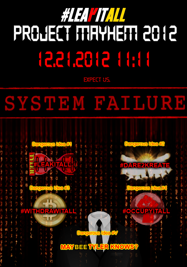 ★SYSTEM FAILURE★ Dangerous Ideas: 1. #LEAKITALL 2.#DARE2KREATE 3. #WITHDRAWITALL 4. #OCCUPYITALL 5.?   Full image: http://i.imgur.com/UfIyU.png