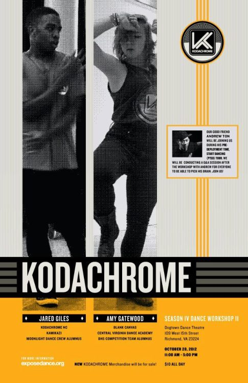 KODACHROME Season IV Workshop II Yall know what it is party people!! Kodachrome is back and better than ever, and this month, the workshop is at VCU!! click the link above to check the info on the facebook event page. Keep your halloween weekend free and get yourself to VCU! also, come check out the More Than Dance x Blank Canvas workshop the day before Kodachrome. Thats Oct. 27th. we are raising money and other donations to benefit the Boys and Girls Club of Metro Richmond! here is the link for that:http://www.facebook.com/events/531372156876902