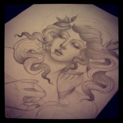 Botticelli/Birth of Venus inspired drawing for my mother