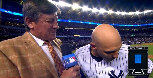 MLB ALDS Game 3 - Orioles @ Yankees Craig Sager post-game interview w/ Raul Ibanez (Editor's note: I'll try and get as many pics during the baseball playoffs as I can, but I'm not much of a baseball fan outside of the Red Sox — R.I.P. 2012 season. When the NBA season starts though, it's totally on like donkey kong. ;)