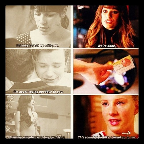 Finally watched #glee #thebreakup & it was devastating 😓😲😧 #finchell #britanna #klaine  (Taken with Instagram)