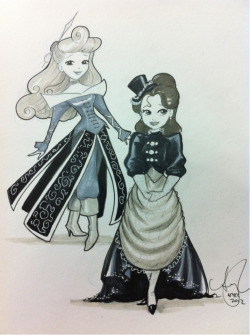 Steampunk Aurora & Belle . @NY_Comic_Con sketch #CopicMarker
