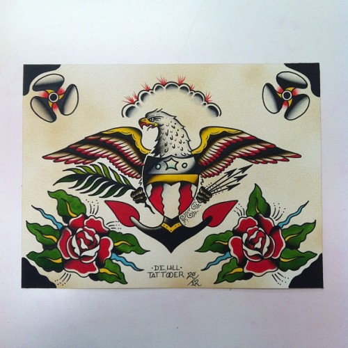 #searchlighttattoo #dehilltattoo #eagle #traditionaltattooflash #tattoo #atl #roses  (Taken with Instagram)
