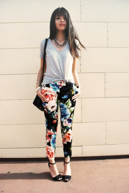 Floral denim packs some punch in the land of T-shirt styling. (via TeenVogue.com)