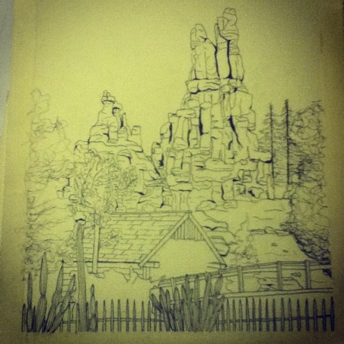 #thundermountain #disney #disneyland #drawing #art #ink #ride #mine  (Taken with Instagram)