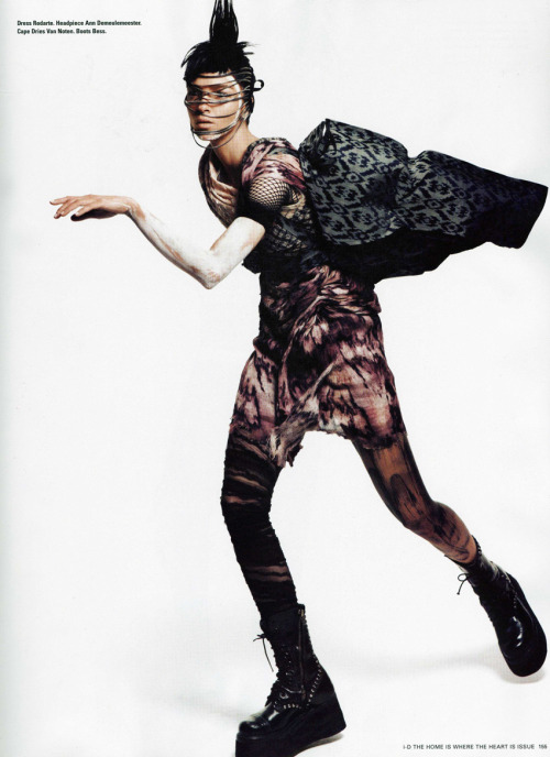 Mariacarla Boscono wears Rodarte's S/S 2010 Burnt and Hand Painted Dress in the S/S 2010 issue of @i_D magazine.
