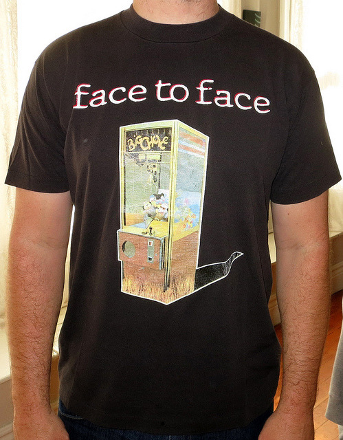Day: 458 Shirt: Face To Face - Big Choice Tour 1995 Color: Black Brand: Screen Stars Black Source:  There was a time when i was embarrassed to wear this shirt.   Pop Punk was being bastardized, and Face to Face was putting out some not so good records right before there break up.  There would be times when i would go to put it on and then think, nahh, i got something cooler i bet.   Funny thinking how some shit really does age a little better with time.  Big Choice was a fucking good record, i go back and listen to it all the time and i can really still appreciate it.  it might even be there best record?  i dunno.  its a tough call cause the first record is pretty damn good but this one was produced much better.  i wonder how it will sound in another 10 years from now. I used to work for MySpace back in the day, and now when i tell people its a lil embarrassing.  perhaps in 10 years that will have aged and be cool again :) nah.