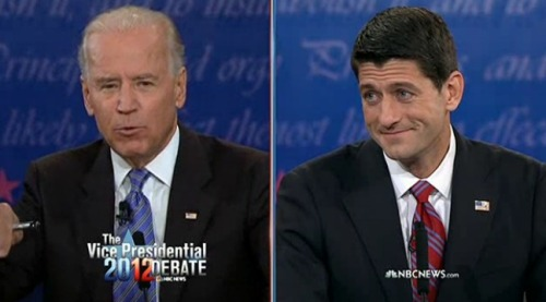 The style verdicts so far? We'd call Biden blustery, forceful, but stumbling and chortling. Ryan, on the other hand, has been a model of relentless, incessant energy, with a reasonable little dose of smarm.
