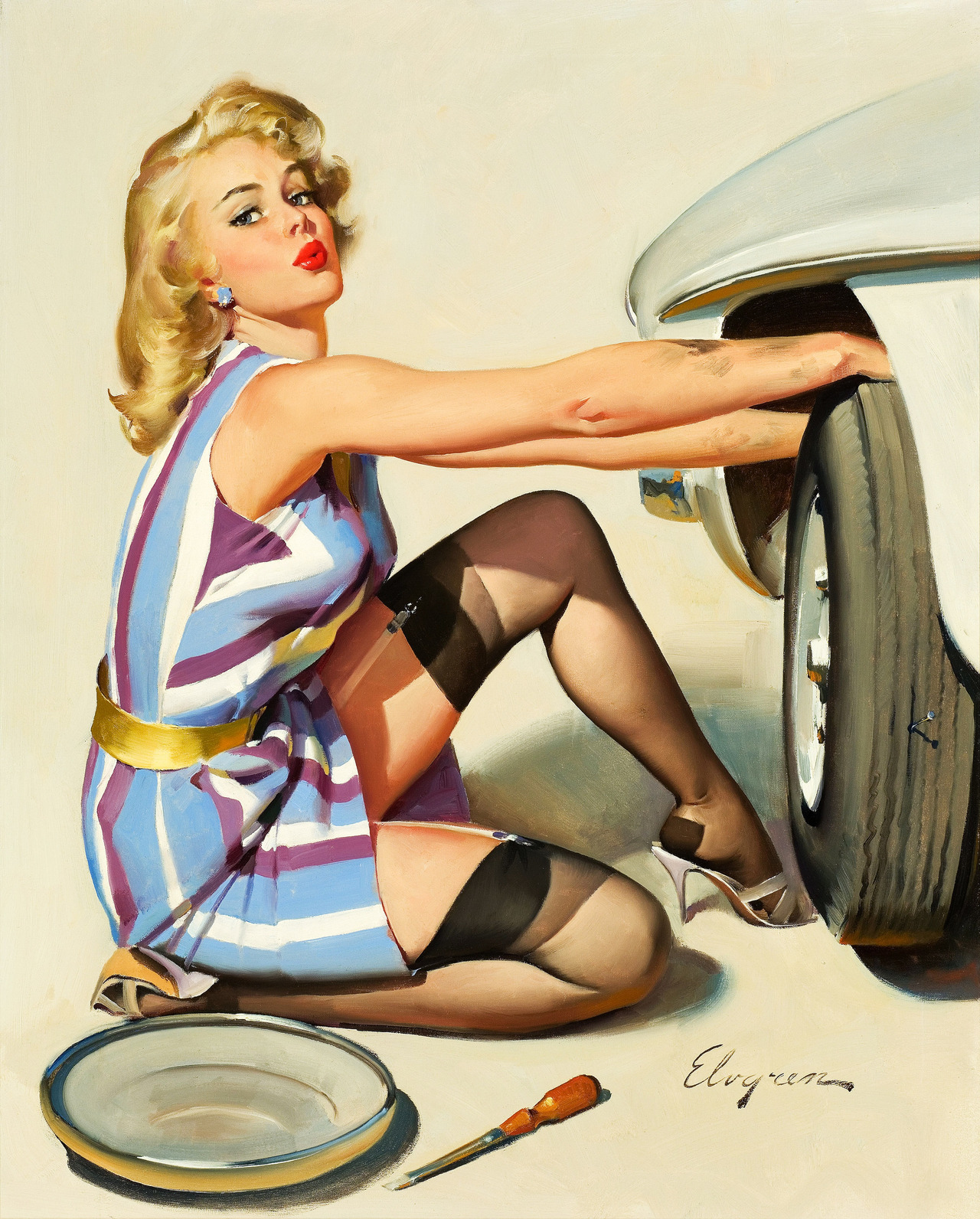 Gil Elvgren's Quick Change Artist (1968). That car's presumably fictional, but it's got a lot of MGB in it.