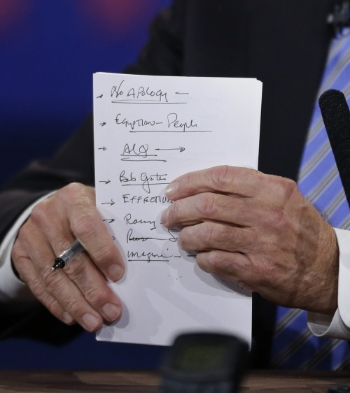shortformblog:  imwithkanye:  No Apology. Biden's notepad during the VP debates.  Killer debate.   I made similarly notes while listening to it. I should have been a participant.