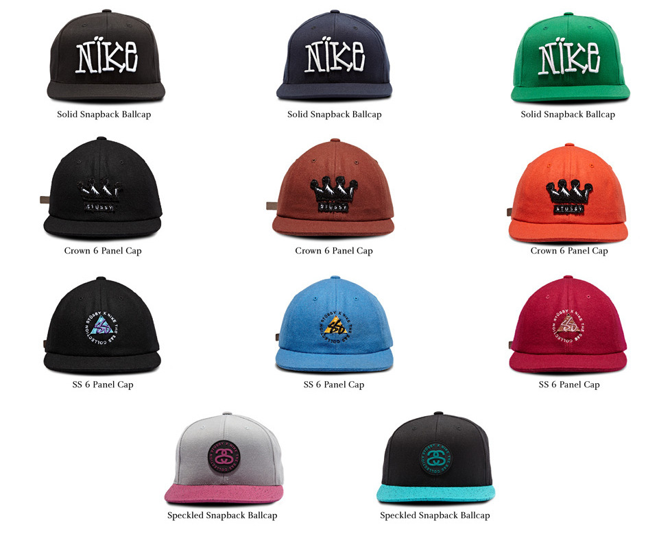Stussy x Nike S&S Collection Hats Among the MANY items being released as part of the collabo, the most eye-catching to me would have to be the snapbacks and 6 panel hats.  Some might agree, or some might edge towards the various kicks, beanies, tees, and crewnecks that are also part of the collection. Whichever your preference, the S&S Collection by Stussy and Nike will go on sale this Saturday, October 13th, at all Stussy stores and other select retailers.